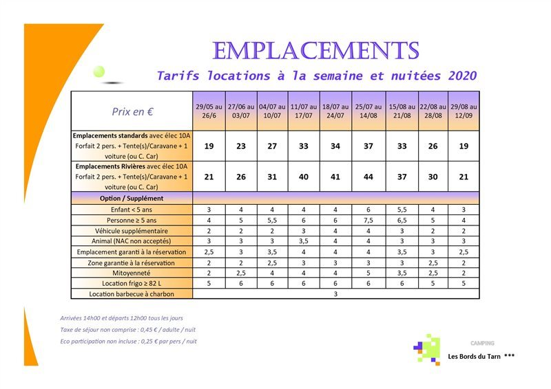 Tarifs emplacements Camping Les Bords du Tarn - Gorges du Tarn